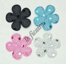 "U PICK ~ 1-3/8"" Padded Sequin Flower Appliques Crafts Sew On Trims x60 pcs #2395"
