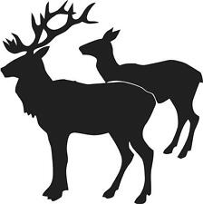 "Two Deer Silhouette | Vinyl Wall Sticker / Decal 22""x22"" [Animal 18]"