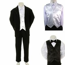 Baby Boy Formal Wedding Party Church Black Suit Tuxedo + White Vest Bow Tie S-4T