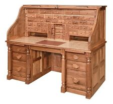 Spectacular! Amish Handcrafted Presidents Roll Top Desk Office Furniture Wood