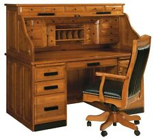 Amish Handcrafted Mission Roll Top Desk Office Furniture Solid Wood File Writing