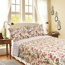 Full/Queen Size[Summer Flowers-Ivory]Quilt Set