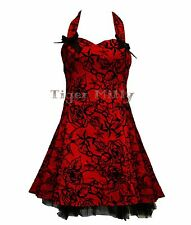 HEARTS & ROSES H&R TATTOO FLOCK MINI DRESS RED