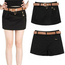 Chic Pleated Skirt Slim Candy Color Lady Mini Casual High-Waisted Shorts W/Belt