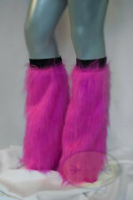 Hot Pink Fluffy Legwarmers Rave Wear Accessories