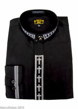 New Mens Clergy Neckband Shirt, Black w/White Cross Embroidery, Pastor, Clerical