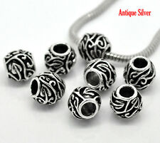 NEW Silver Tone Leaf Swirl Pattern Spacer Beads Fits European Charm Bracelets