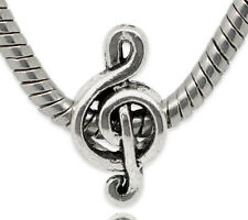 NEW Silver Tone Treble Clef Music Note Charm Beads Fit European Charm Bracelets