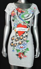 NWT ED HARDY by CHRISTIAN AUDIGIER wmn FEATHER LUX embellished DRESS white *XS-L