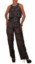 LADIES ALL IN ONE SEQUINS AZTEC SUMMER CASUAL PARTY LONG MAXI TROUSER JUMPSUIT