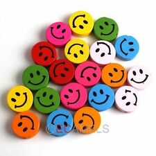 Hot sale 50pcs Mixed Different Style Smile to Pick  Multicolor Wooden Beads