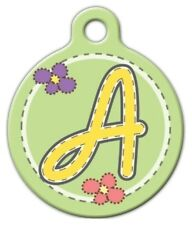 GREEN STITCH MONOGRAM A -Z - Custom Personalized Pet ID Tag for Dog Cat Collars