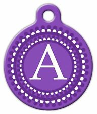PURPLE DOTS MONOGRAM A -Z - Custom Personalized Pet ID Tag for Dog Cat Collars