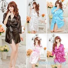 Women's Nightdress+G-string Thongs Satin Robe Lace ROBE Gown Bathrobes Sleepwear