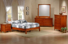 J&M Chic Contemporary Astoria Teak Finish Solid Wood Queen Size Platform Bed