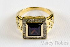 Mens Square Purple Stone, BISHOP RING, Christian 14K Gold Plating/.925 Sterling