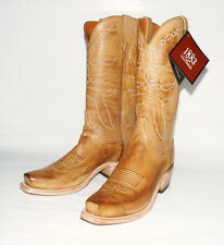 Lucchese Men's Camel Burnished Beeswax Square Toe Western Boots N1566