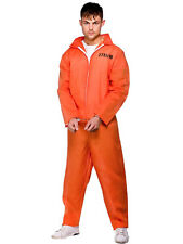 Adult Convict Suit Fancy Dress Prisoner Inmate Boiler Suit Party Costume Mens