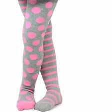 Naartjie Girls Stripes with Dots Cotton Tights, Heather Gray NWT
