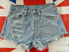 Vintage LEVIS 501 denim shorts silver studs Towie celeb inspired all sizes