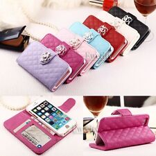 Fashion Luxury Deluxe Grid Wallet PU Leather Stand Set Case Cover For Apple