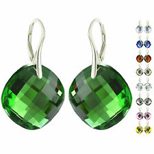 925 Sterling Silver Faceted Modified Round Emerald Crystal Leverback Earrings