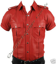 NEW 100% GENUINE LEATHER RED OR RED & BLACK POLICE MILITARY UNIFORM STYLE SHIRT