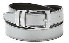 Reversible Belt Bonded Leather with Removable Silver-Tone Buckle SILVER / Black