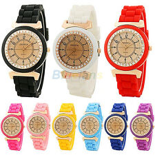 Geneva Silicone Golden Crystal Stone Quartz Wrist Watch For Lady Women Girl B52U