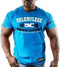 NEW Mens Graphic T MONSTA Bodybuilding Wear RELENTLESS BLUE TShirt Gym Clothing