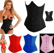 XMAS GIFT Hot Sexy Lady Underbust Boned Bustier Corset Outfit Basque&Thong S-6XL