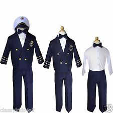 Navy Baby Boy Toddler Captain Nautical Formal Costume Suit Outfits sz S-XL 2T-4T