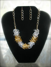 Silver Black Gold Tone Overlapping Oval Link Statement Necklace w earrings set