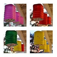 Package of 3 Pentagon Asian Style Chinese Fan Lanterns Hanging Multi Color