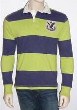 American Eagle Outfitters Blue Lime Long Sleeve Rugby Stripe Polo Shirt New NWT