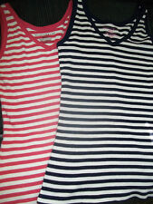 MOUNTAIN LAKE JUNIOR SMALL SLEEVELESS TANK TOP STRIPES NAVY & MELON PINK ORANGE