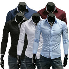 6153 New Mens Fashion  Casual Slim Fit Stylish Dress Shirts 5 Colors 4 Size