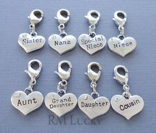 Silver tone Heart Family Clip On Charm with Lobster Clasp for Link Chain C106
