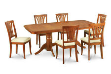 9PC RECTANGULAR DINING ROOM SET TABLE AND 8 UPHOLSTERED CHAIRS IN SADDLE BROWN