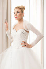 NEW Bridal Ivory / White Tulle Bolero Shrug Wedding Jacket S M L XL 2XL (B119 A)