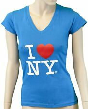 I Love NY Ladies V-Neck T-Shirt New York Womens Fitted Screen Printed Heart Tee