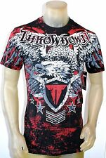 NWT THROWDOWN by AFFLICTION mens EAGLE RED s/s FORCE t-shirt T0707 black M-2XL