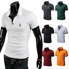 S M L XL Polos Tee T-Shirt Hommes SEXY Col V Chemises Slim Fit Hauts Tops Blouse