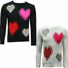 NEW LADIES WOMENS HEART PRINT SYMBOL KNITTED JUMPER LOVE SIGN SWEATER TOP 8-14