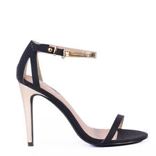 "WOMENS SHOES""OLYMPIA""BY VERALI  HOT NEW HIGH HEEL PARTY SANDALS IN BLACK/GOLD"