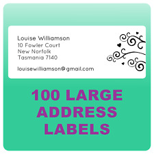 100 PERSONALISED RETURN ADDRESS LABELS LARGE STICKY STICKERS WEDDING BOMBONIERE