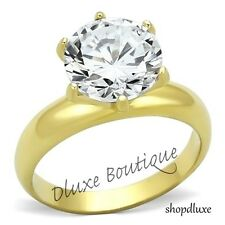 3.90 Ct Round Cut 14k Gold Plated CZ Solitaire Engagement Ring Women's Size 5-10