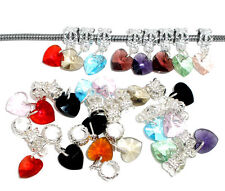NEW Silver Plated Heart Love Crystal Dangle Charm Beads Fits European Bracelets