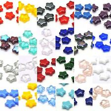 6 Czech Glass 5 Point Flat Star Shaped 12mm Beads in Many Colors and Finishes