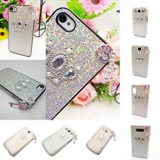 3D Bling Crown Heart-Key White Shiny Back Hard Case Cover for Various Models New